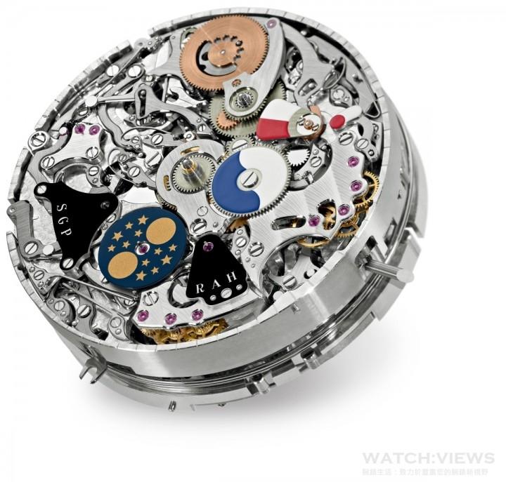 GS AL 36-750 QIS FUS IRM手上鍊機械機芯,擁有20項複雜功能,打簧報時裝置採用3條音簧,提供5種報時模式 (大、小報時、三問、打簧響報時間及打簧報示日期);第二時間顯示備有日/夜指示器;即時跳換萬年曆 (兩個錶面皆有日期指示;星期、月份、閏年週期、四位數字年份顯示、24小時與分鐘附屬顯示盤、月相顯示、打簧報時模式指示、打簧報時裝置阻隔器狀態指示、打簧響報小時功能開/關狀態指示、錶冠位置指示器及機芯與打簧報時裝置動力儲備指示器) ,機芯動力儲備至少72小時,打簧報時裝置動力儲備30小時。
