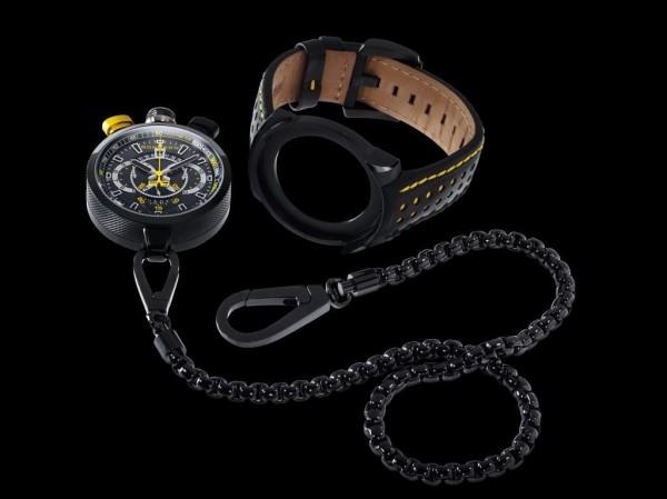 Bolt-68 系列備有Bomberg獨家研發的栓銷裝置,只要使用一個巧妙的板機,便可將計時器從錶殼拆下;搭配專屬掛鍊殼,讓拆下來的計時器搖身一變為一只懷錶。