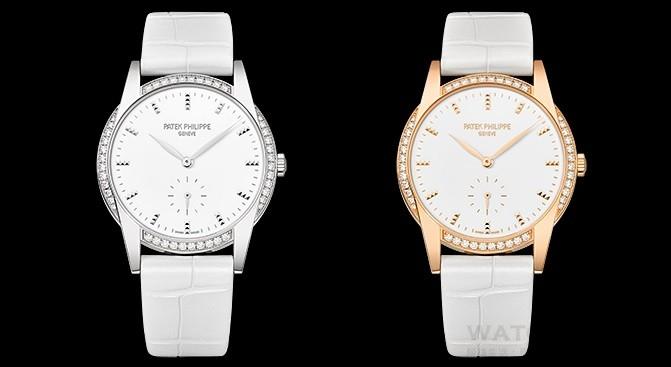 "Calatrava編號7122 ""Timeless White""「歷久彌新的白色」女裝腕錶,18K白金或玫瑰金錶殼,錶徑33毫米,錶圈鑲嵌47顆、0.47克拉美鑽,白色漆面面盤,時、分、小秒針,Caliber 215 PS手上鍊機芯,百達翡麗印記,防水30米,白色鱷魚皮錶帶。"