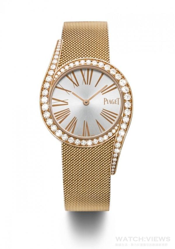 Limelight Gala Milanese腕錶 - 32毫米,18K玫瑰金腕錶,錶殼鑲嵌62顆圓形美鑽(約重1.75克拉),錶盤上飾有玫瑰金色羅馬數字時標,18K玫瑰金米蘭網織鏈帶配備刻有伯爵首字母「P」字樣的滑釦,搭載伯爵製690P石英機芯,型號G0A41213,台幣參考售價1,240,000元。