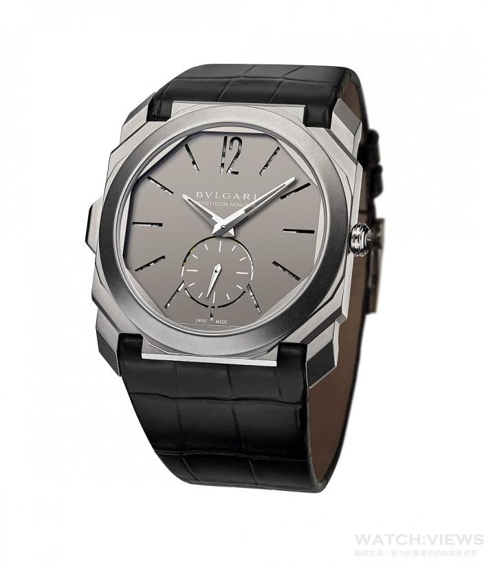 Octo Finissimo Minute Repeater腕錶以創新的思維典範詮釋「纖薄」的概念,並藉由全新手法為機械技術與經典複雜功能奠基,於此同時仍不忘延續品牌的優勢地位,並鞏固頂級製錶傳統。Octo Finissimo Minute Repeater腕錶即將成為錶壇新星,限量發行50只。