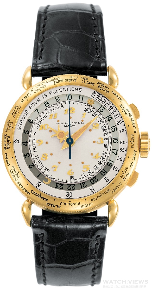 5930G所配備的世界時間與計時碼錶兩種功能相結合,是百達翡麗樣產系列第一次出現,過去鑑賞家僅能於品牌一九四零年代的一件作品,即圖示的這只Ref. 1415-1 HU路易士 • 哥迪亞世界時間計時碼錶中,見證同類組合出現。