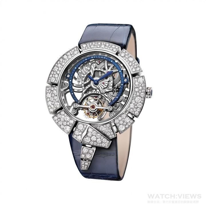 SERPENTI INCANTATI 鏤空陀飛輪女性腕錶白金款,限量發行 30只。