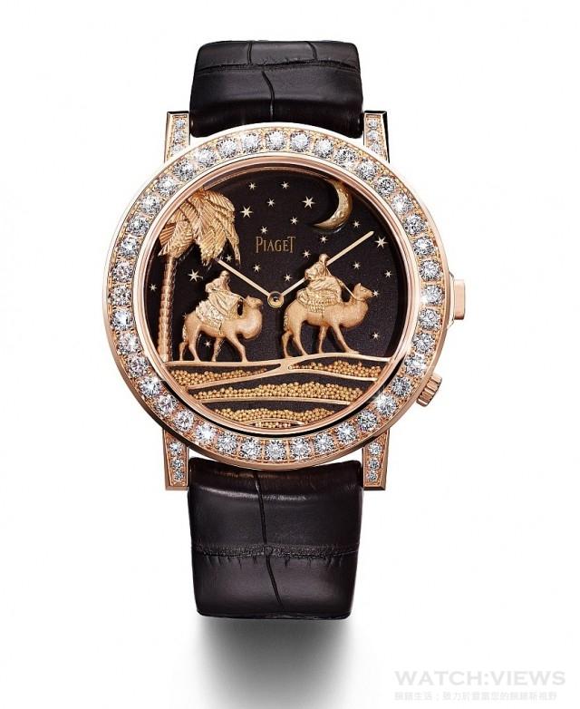 PIAGET ALTIPLANO DOUBLE JEU金質雕刻腕錶,限量8枚,鐫刻獨立編號,G0A40609,台幣參考售價3,980,000元。