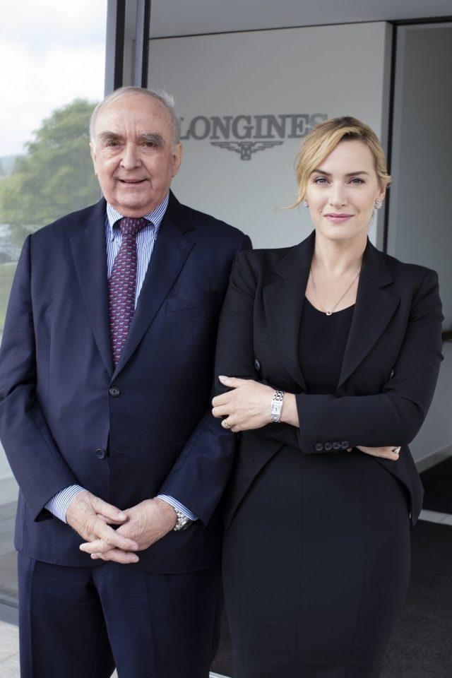 浪琴表優雅大使凱特.溫斯蕾與浪琴表總裁 Mr. von Kanel 於浪琴表總部合影