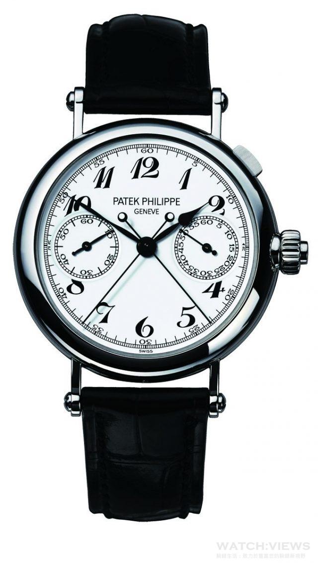 Patek Philippe超複雜功能時計系列 5959P-001 鉑金錶殼,錶徑33.2毫米,CHR 27-525 PS手動上鍊機芯,48小時動力儲存,時、分、小秒針顯示、雙秒追針單按把計時碼錶,藍寶石水晶玻璃鏡面及後底蓋,鱷魚皮錶帶。