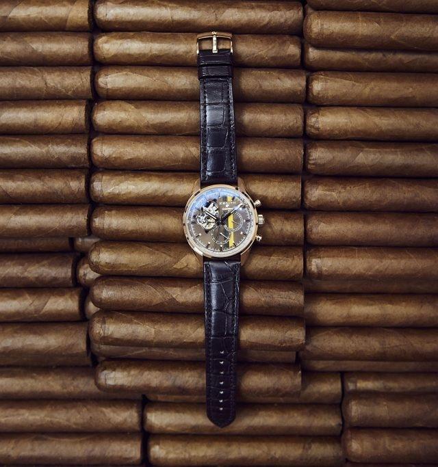 真力時El Primero Chronomaster 1969 Cohiba Edition獨家紀念腕錶,閃爍的栗色光澤令人聯想起雪茄的琥珀色調。