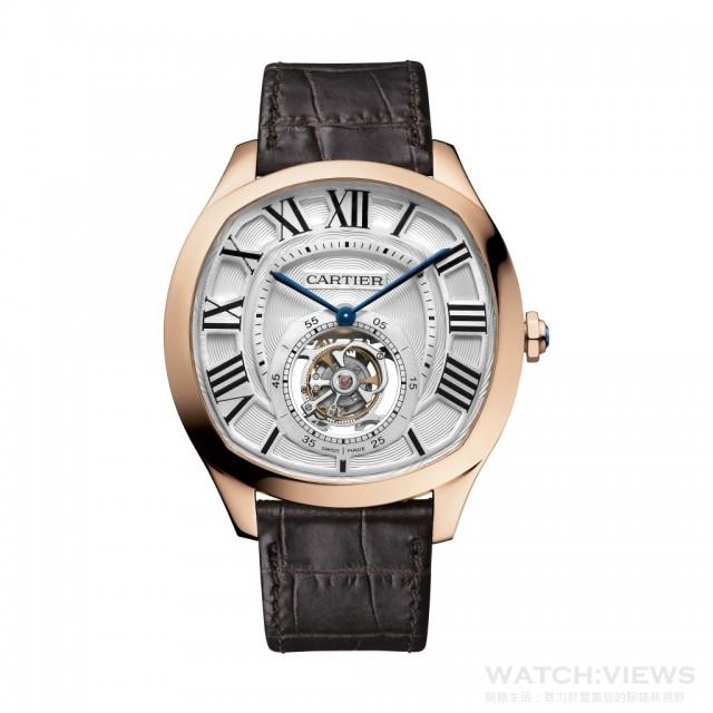 Drive de Cartier浮動式陀飛輪腕錶,18K玫瑰金錶殼,錶徑40 x 41毫米,9452 MC型手動上鍊機芯,日內瓦印記,時、分、小秒針、陀飛輪,藍寶石水晶玻璃鏡面及後底蓋,鱷魚皮錶帶,防水30米,建議售價NTD 3,350,000。