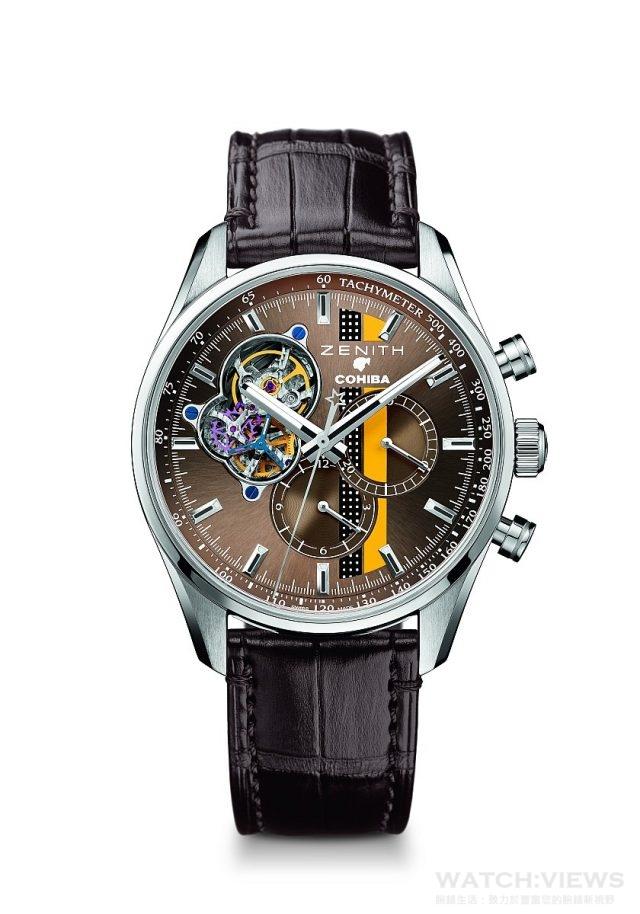 El Primero Chronomaster 1969 Cohiba Edition獨家紀念腕錶,不鏽鋼錶殼,錶徑42毫米,棕色錶盤帶有獨特的COHIBA裝飾,中置時、分顯示,小秒針位於9時位置、計時功能、測速儀,El Primero 4061自動上鏈機芯,振頻每小時36,000次(5赫茲),動力儲備至少50小時,棕色鱷魚皮錶帶配橡膠保護襯裡,限量500枚,台幣定價NTD312,000。