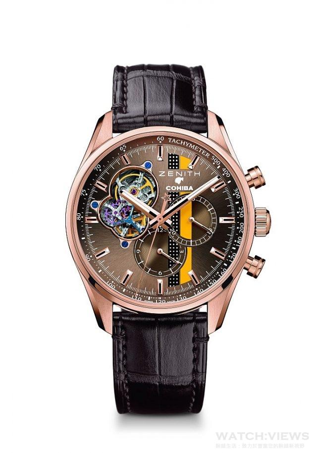 El Primero Chronomaster 1969 Cohiba Edition獨家紀念腕錶,玫瑰金錶殼,錶徑42毫米,棕色錶盤帶有獨特的COHIBA裝飾,中置時、分顯示,小秒針位於9時位置、計時功能、測速儀,El Primero 4061自動上鏈機芯,振頻每小時36,000次(5赫茲),動力儲備至少50小時,棕色鱷魚皮錶帶配橡膠保護襯裡,限量500枚,台幣定價NTD668,000。