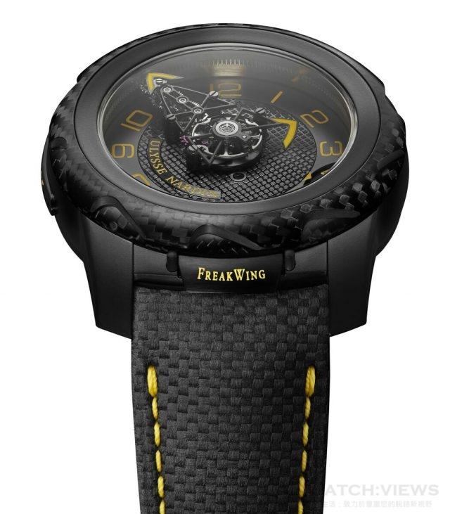 呼應Artemis帆船的設計理念,FreakWing陀飛輪錶配備黑色類鑽碳 (DLC – diamond-like-carbon)鈦金屬錶殼、碳纖維錶圈及附有碳纖維圖案的黑色真皮錶帶。