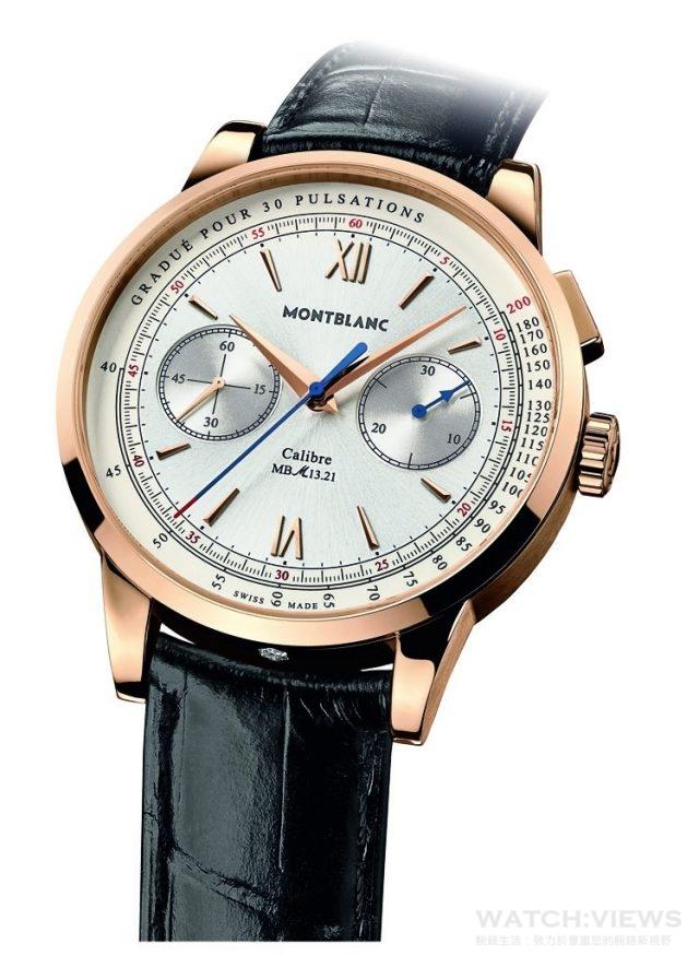 Montblanc Meisterstück Heritage系列脈搏偵測儀計時腕錶 18K玫瑰金錶殼,鑲嵌萬寶龍六芒星形鑽1顆(0.055克拉),錶徑41毫米,自製MB M13.21手動上鍊機芯,55小時動力儲存,時、分、小秒針顯示、單按把計時碼錶、脈搏計,藍寶石水晶玻璃鏡面及後底蓋,防水30米,鱷魚皮錶帶,參考價NTD 1,074,500。