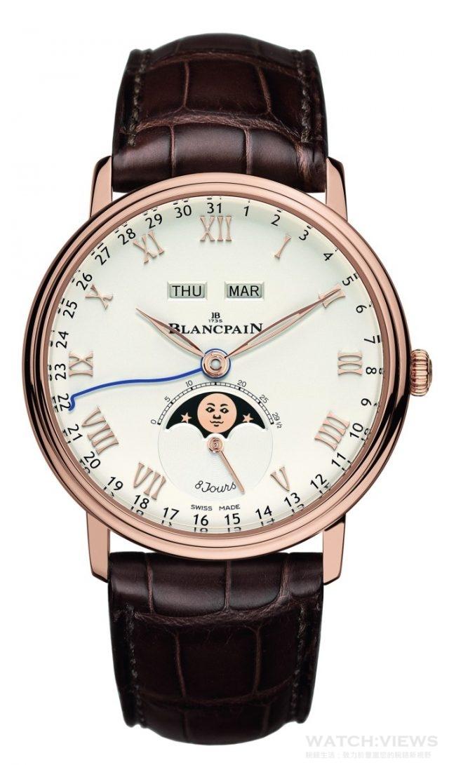18K紅金錶殼,直徑42mm,8日動力儲存全日曆月相腕錶,8日動力儲存,全日曆、月相、小秒針顯示,錶耳下方隱藏式調校,日曆與月相安全調校保護裝置,乳白色錶盤,自動上鍊機芯,防水30米,藍寶石底蓋,短吻鱷魚皮錶帶。