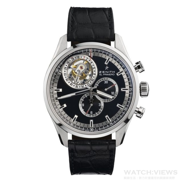 Zenith El Primero Tourbillon陀飛輪腕錶, 不鏽鋼錶殼,直徑44 毫米,El Primero 4035自動上鏈機芯, 36000轉振頻, 50小時動力儲存,陀飛輪十一點鐘方向 ,專利日期顯示(環繞陀飛輪), 藍寶石水晶玻璃鏡面,建議售價NTD1,762,000。