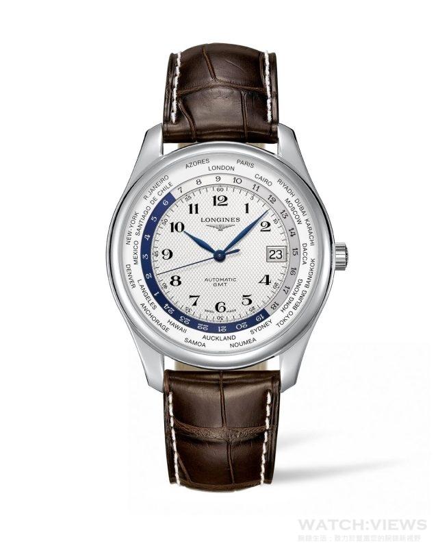 浪琴表巨擘系列世界時區腕錶 L2.802.4.70.3      建議售價:NT$77,800 浪琴表於2005年推出浪琴表巨擘系列,此系列後來成為浪琴表的旗艦錶款。自推出以來,巨擘系列一直深受歡迎,也成為浪琴表製錶工藝的象徵。這些年來,巨擘系列增加了新的尺寸與規格,但始終秉持雋永經典,這也是浪琴表風靡全球的重要原因之一。這款世界時區不鏽鋼腕錶搭載自動上鍊機芯,錶徑42mm。麥穗紋的銀色錶面搭配藍鋼指針;錶面外圈刻劃世界主要時區,可針對所在地時區進行調整後,即可辨別世界各國的當地時間,以不銹鋼錶殼搭載L635自動機芯、藍寶石水晶鏡面。防水深度達30米。