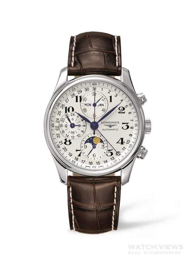 浪琴表巨擘系列全日曆月相計時碼錶 L2.673.4.78.3 建議售價:NT$104,100 身為歷史悠久的製錶品牌,浪琴表從創立之初即開始打造傑出時計。如今,浪琴表巨擘系列完美展示此品牌精神,且自推出後便大獲成功。這款不鏽鋼計時碼錶搭載自動上鍊計時碼錶機芯,錶徑40mm。麥穗紋的銀色錶面搭配藍鋼指針,優雅地與月相顯示相互呼應。咖啡色鱷魚皮錶帶與白色錶面呼應,更增添優雅紳士氣息。 另有42mm錶款,建議售價NT$111,000。