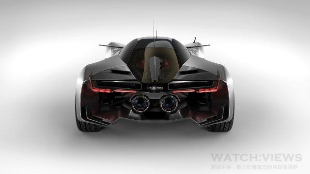 AERO-GT概念車兩根超大尾氣管就像是渦輪噴氣發動機的排氣管,渦輪式輪輞也模仿了超音速飛機發動機的葉片。但最令人難忘的細節是後部的縱向副翼,與飛機的尾翼如出一轍。