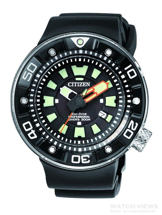 CITIZEN 潛水錶,型號BN0176-08E,DLC不鏽鋼錶殼,錶徑48毫米,時、分、秒、日期顯示,JIS1防磁,PU橡膠錶帶,防水300米,光動能充滿電可連續運作6個月,台灣限量30只,定價NTD27,000。