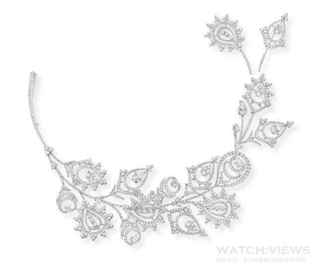 MEHNDI 胸針項鍊,1370 顆鑽石 共26,35 克拉,建議售價NTD 18,350,000。