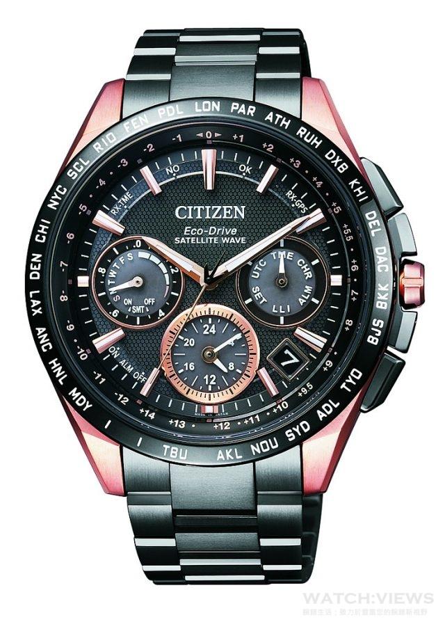 CITIZEN Eco-Drive全球電波對時錶,型號CC9016-51E,DLC/粉紅金/鈦金屬錶殼,錶徑43.5毫米,GPS定位對時 (30秒)、衛星對時 (3-11秒)、40時區/27個世界城市時間、電量等級顯示、24小時制顯示、20碼錶計時(60分鐘計時器)、萬年曆、感光亮度等級顯示、碼錶計時/鬧鈴/夏令時間,光動能(充滿電後可連續運作8個月/省電模式),DLC/粉紅金/鈦金屬錶帶,防水100米,定價NTD72,800,2016年最新形象廣告款,2016年7月上市。