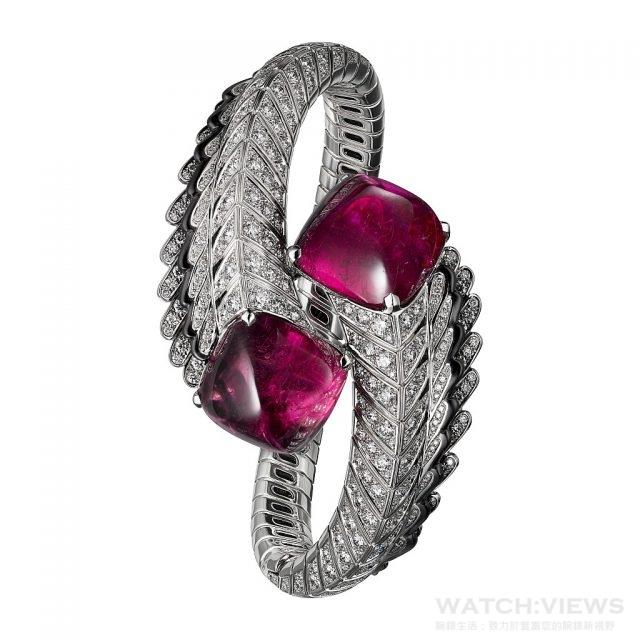 QUETZAL紅碧璽手環白K金,兩顆共重41.09克拉的糖果式凸圓形切割紅碧璽,黑色真漆,圓形明亮式切割鑽石。