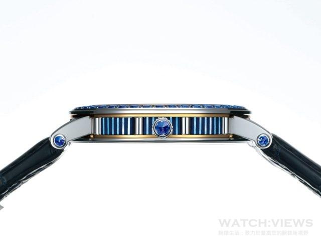Credor Fugaku富嶽陀飛輪腕錶細緻的金雕展現極致的巧手及工藝,錶殼綴有48顆藍寶石。
