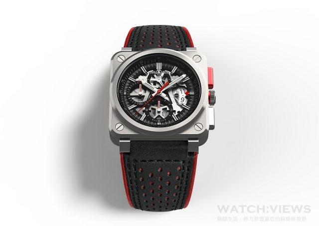BR 03-94 AeroGT腕錶 不鏽鋼錶殼,直徑42毫米,鏤空面盤,時、分、小秒針、大日期、計時碼錶附測速儀,BR-CAL.319自動上鍊機芯,帶防眩塗層的藍寶石水晶玻璃鏡面,防水100米,黑色小牛皮錶帶,縫有紅色滾邊和超耐磨黑色合成織物,限量500只。