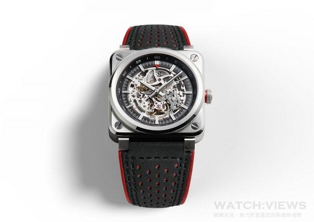 BR 03-92 AeroGT腕錶 不鏽鋼錶殼,直徑42毫米,鏤空面盤,時、分、秒,BR-CAL.318自動上鍊機芯,帶防眩塗層的藍寶石水晶玻璃鏡面,防水100米,黑色小牛皮錶帶,縫有紅色滾邊和超耐磨黑色合成織物,限量500只。