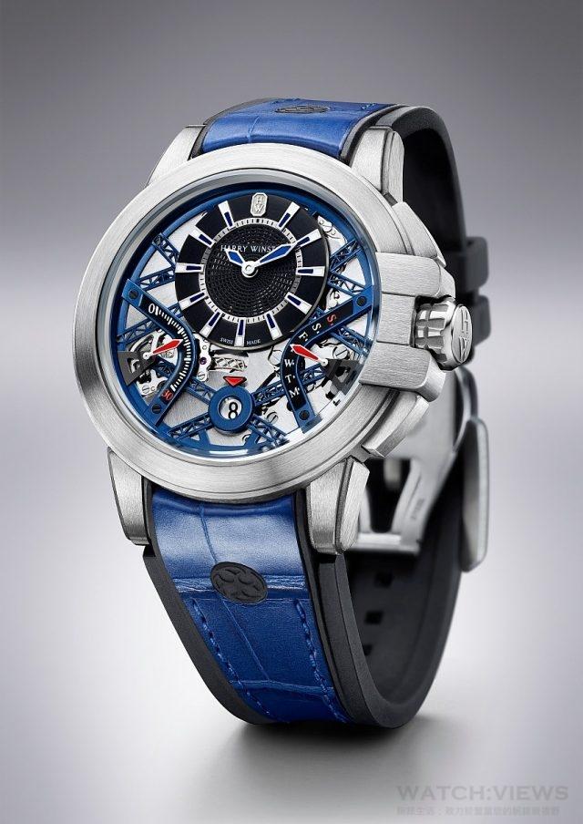 海瑞溫斯頓 Project Z10腕錶,Zalium鋯合金錶殼,直徑42毫米,雙逆跳功能自動上鍊機芯,防水100米,黑色橡膠嵌藍色鱷魚皮帶,限量300只。