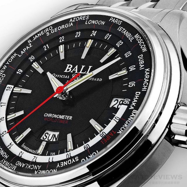 "BALL Watch Trainmaster Worldtime台灣限量版腕錶的內圈GMT+8的時區城是名稱漢醫扁香港標示不同的是,特別以""TAIPEI""紅字標示。"