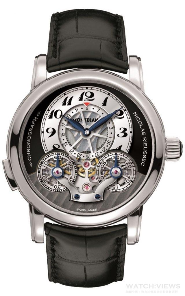 萬寶龍Nicolas Rieussec系列單按把計時腕錶直徑43mm,精鋼錶殼/透明藍寶石水晶錶背,煙灰色錶面,小時阿拉伯數字以黑色數字貼飾,藍鋼指針,鏤空30分、60秒計時盤及日期顯示盤/黑色鱷魚皮錶帶搭配精鋼摺疊錶扣,建議售價NTD471,600。