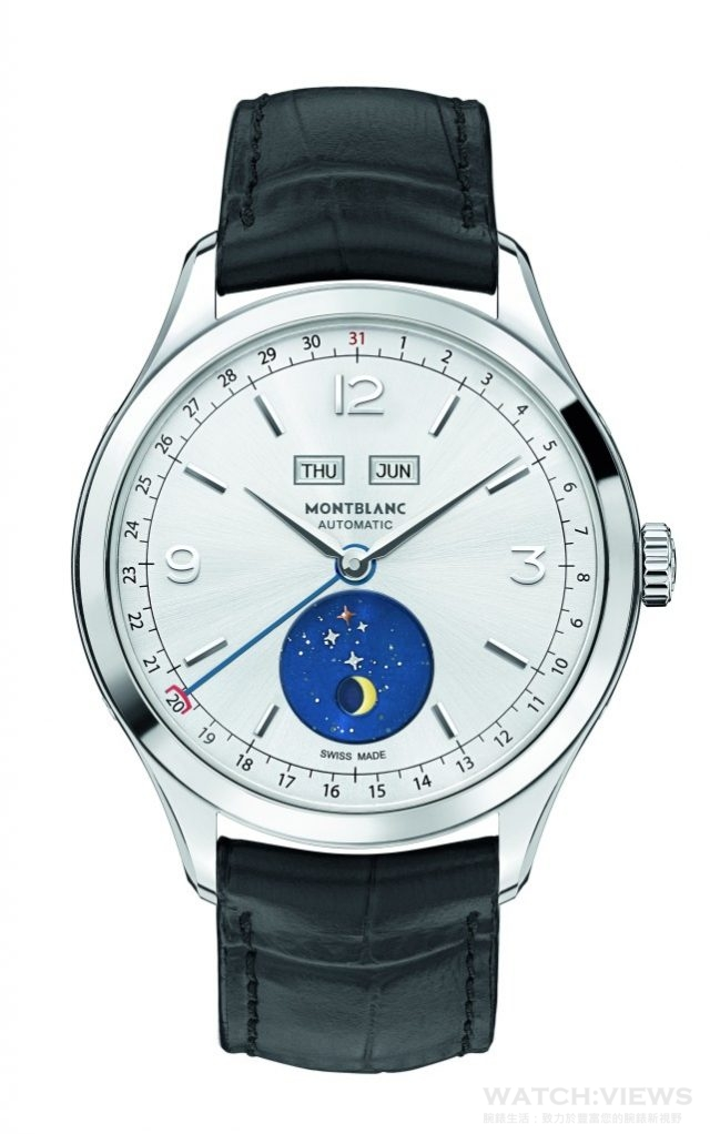 萬寶龍Heritage Chronométrie傳承精密計時系列全曆腕錶瓦斯科達伽馬特別款直徑40毫米,精鋼錶殼/MB 29.16自動上鍊機芯/中央時針和分針,日期以中央藍鋼指針指示於錶盤外圈刻度顯示日期,星期和月份顯示窗位於12點鐘位置,6點鐘位置小錶盤顯示月相盈虧/萬寶龍佛羅倫斯Pelletteria皮革工坊手工縫製黑色鱷魚皮錶帶,搭配精鋼針扣,防水30米,附有萬寶龍錶廠500小時測試證書,建議售價NTD149,100。