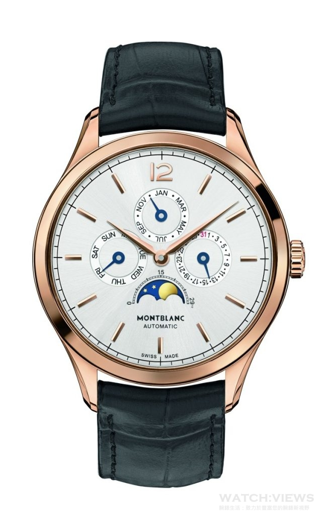Heritage Chronométrie Quantième Annuel 傳承時測系列年曆腕錶18K玫瑰金錶殼,錶徑40毫米,時、分指示、年曆功能、日期、星期、月份顯示、月相顯示,MB 29.18 自動上鍊機芯,儲能42 小時,藍寶石水晶鏡面、後底蓋,鱷魚皮錶帶,防水30 米,通過萬寶龍500 小時測試,建議 售價NTD373,600。