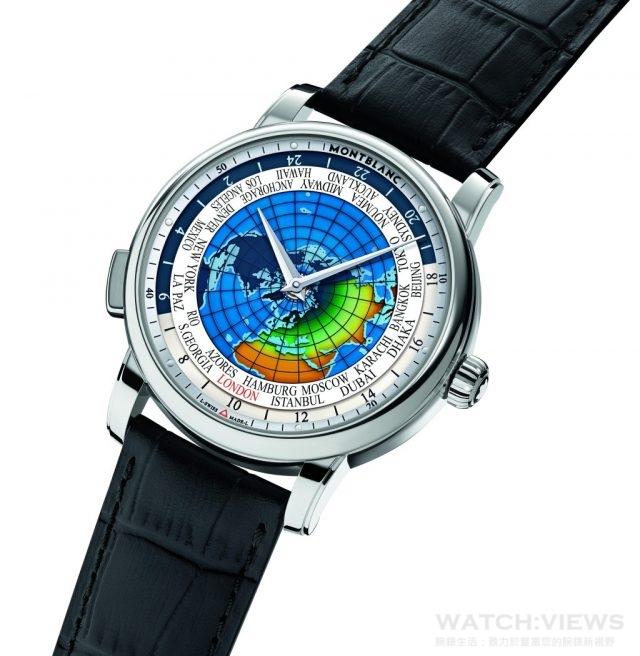 4810 系列Orbis Terrarum世界時區腕錶 不鏽鋼錶殼,錶徑43 毫米,藍寶石水晶玻璃錶鏡、錶盤及後底蓋,時、分、24 小時世界時區、晝夜顯示、24 座城市顯示,MB 29.20 自動上鍊機芯,42 小時動力儲存,防水50 米,鱷魚皮錶帶,參考價NTD 208,400。