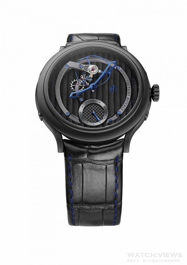 1770 Voltige Plume Noire 黑色PVD不鏽鋼錶殼,錶徑45毫米,日內瓦波紋錶盤,時、分、小秒針,MR05自動上鍊機芯,40小時動力儲存,藍寶石水晶鏡面,透明底蓋,防水30米,鱷魚皮錶帶,限量38只。