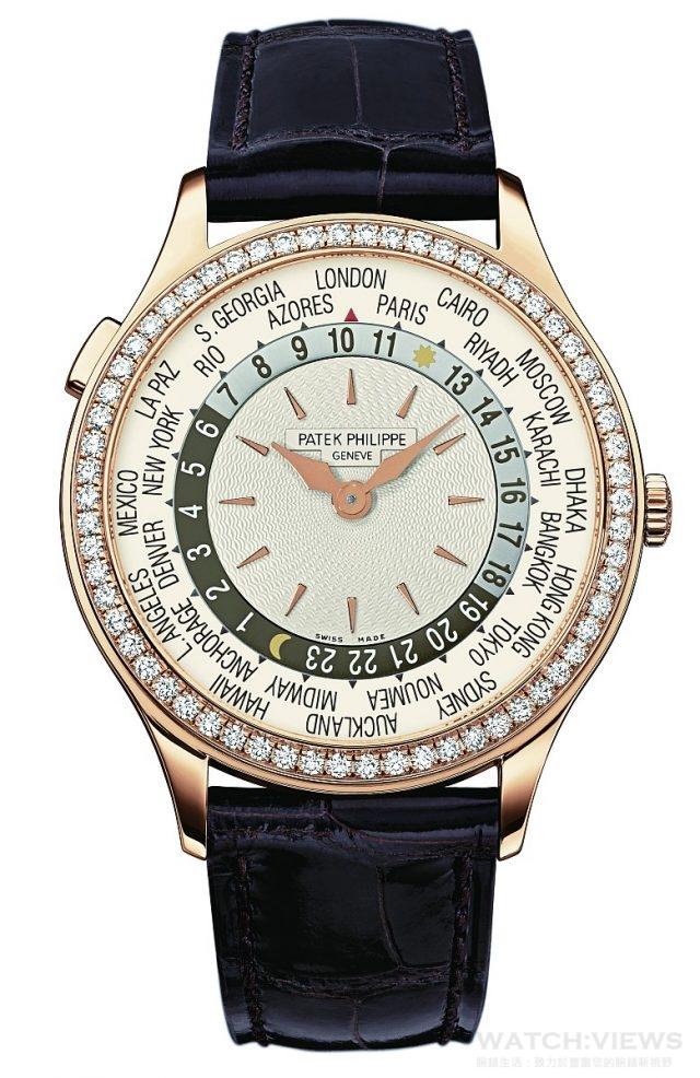 7130R女裝世界時區腕錶18K玫瑰金錶殼,直徑36毫米,錶圈鑲嵌62顆、約0.82 克拉鑽石,時、分、24小時和24時區晝/夜顯示,240 HU自動上鍊機芯,動力儲存48小時,藍寶石水晶玻璃鏡面及後底蓋,防水30米,方形麟紋鱷魚皮錶帶,錶扣鑲嵌27顆、約0.21 克拉鑽石。