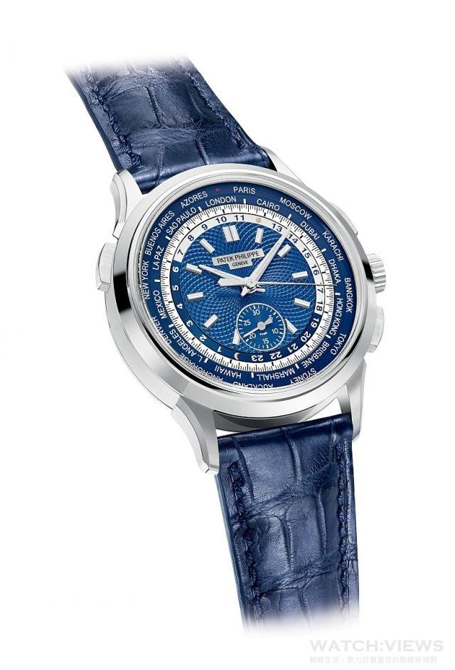 百達翡麗世界時區計時腕錶Ref. 5930G18K白金錶殼,錶徑39.5毫米,時、分、中心大秒針計時碼錶、30分鐘計時器、世界時間顯示(城巿顯示盤列出24個城巿名稱,24小時顯示環兼備日/夜指示,以不同顏色與日/月符號表達),CH 28-520 HU自動上鍊機芯,動力儲存至少50、至多55小時,百達翡麗印記,防水30米,藍寶石水晶玻璃鏡面及後底蓋,啞光海軍藍色鱷魚皮錶帶附摺疊扣。