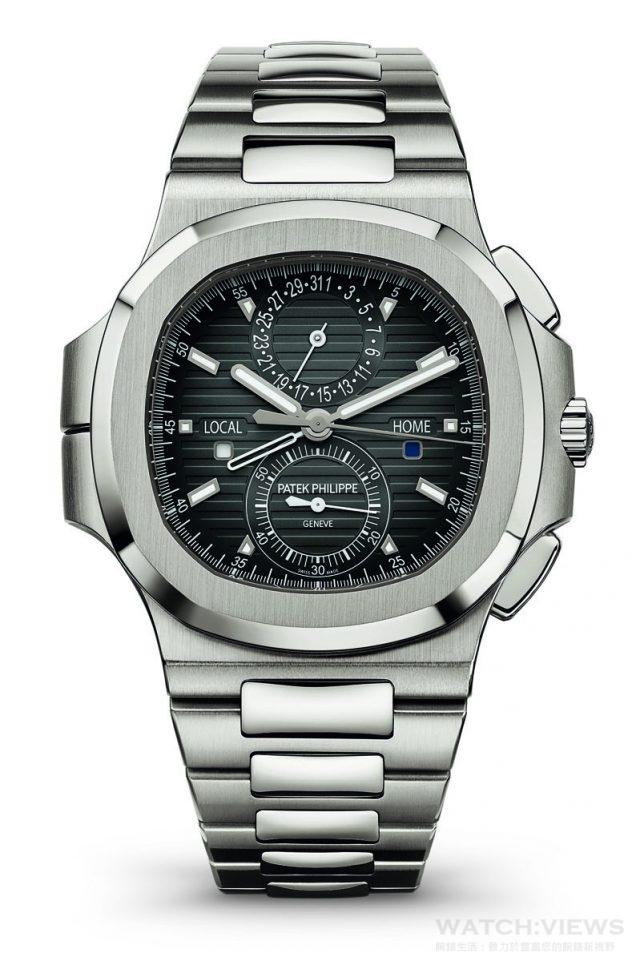 5990/1A Nautilus 兩地時間計時碼錶不鏽鋼錶殼,錶徑40.5 毫米,時、分、中心計時秒針、計時碼錶、當地時間、原居地時間帶晝/ 夜顯示、指針式日期,CH 28-520 C FUS 自動上鍊機芯,百達翡麗印記,動力儲能55 小時,Spiromax 游絲,防水120 米,不鏽鋼鍊帶。