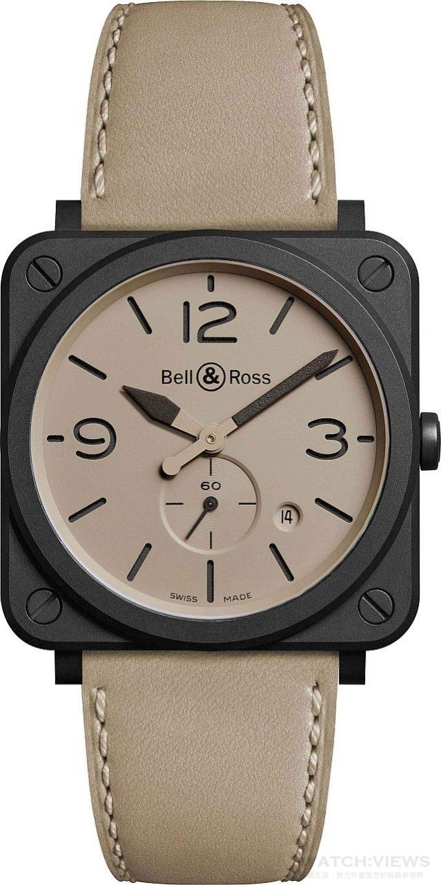 BRS Desert Type系列腕錶 陶瓷錶殼,錶徑39毫米,時,分、小秒針、日期顯示、夜光指針及時標,石英機芯,藍寶石水晶玻璃鏡面,防水100米,小牛皮錶帶內襯耐磨合成織物建議售價NTD 88,400。