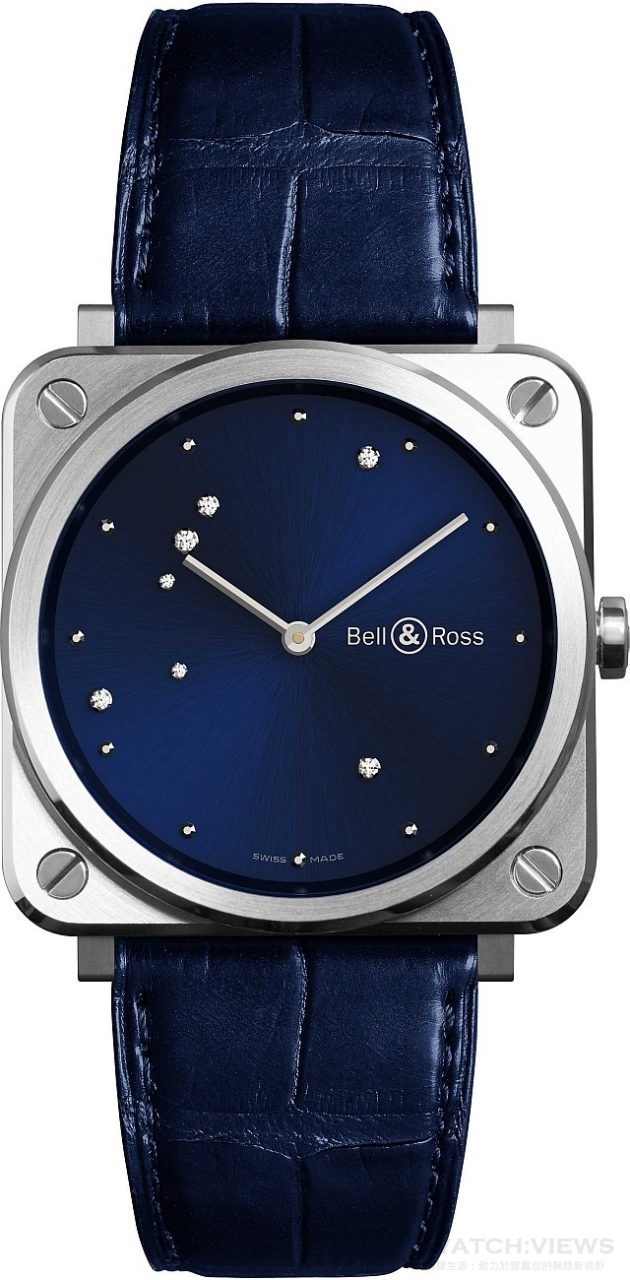 BRS Diamond Eagle 系列腕錶 不鏽鋼錶殼,錶徑39毫米,午夜藍錶盤鑲嵌7顆鑽石,時、分、秒,石英機芯,藍寶石水晶玻璃鏡面,防水100米,鱷魚皮錶帶,建議售價NTD96,000。
