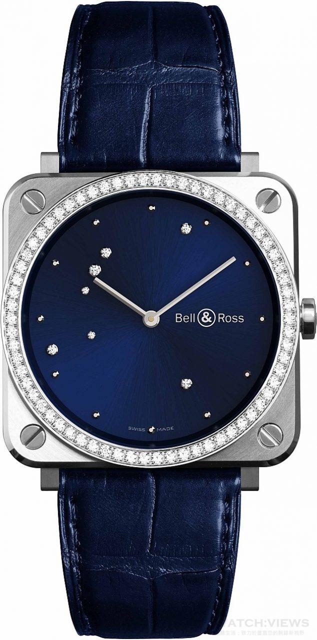 BRS Diamond Eagle 系列腕錶 不鏽鋼錶殼鑲鑽66顆,錶徑39毫米,午夜藍錶盤鑲嵌7顆鑽石,時、分、秒,石英機芯,藍寶石水晶玻璃鏡面,防水100米,鱷魚皮錶帶,建議售價NTD 226,300。