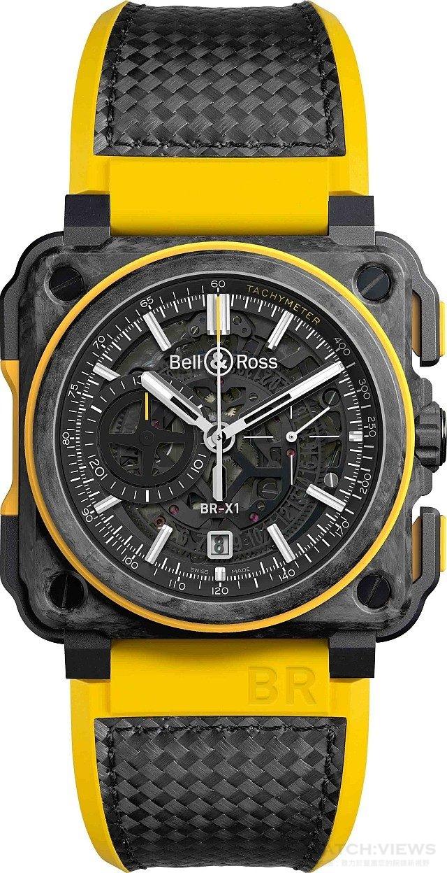 BR-X1 RS16雷諾車隊限量腕錶 5級鈦金屬級鍛造碳錶殼,錶徑45毫米,時、分、小秒針、日期顯示、計時碼錶、夜光指針及時標,BR-CAL.313自動上鍊機芯,藍寶石水晶玻璃鏡面,防水100米,橡膠及碳纖維編織錶帶,限量250只,建議售價NTD 843,500。