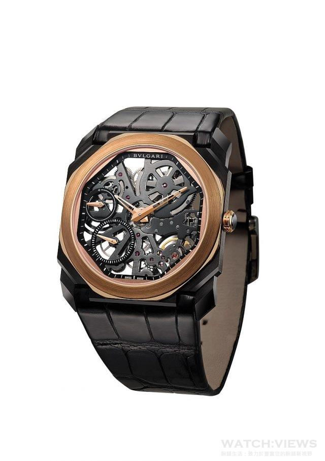 BVLGARI Octo Finissimo Skeleton透視機芯腕錶,售價約新台幣851,000元。