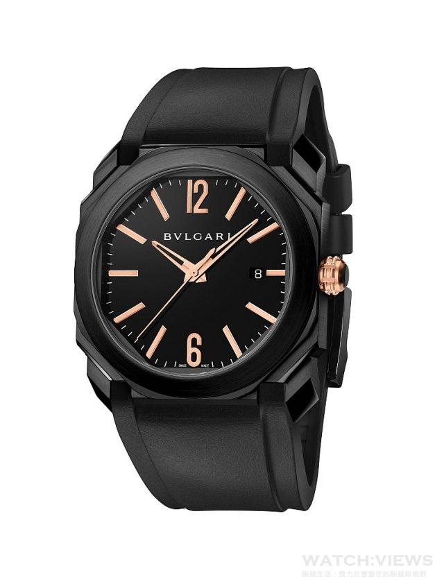 BVLGARI Octo Ultranero全黑類碳鑽錶殼自動腕錶,售價約新台幣236,600元。