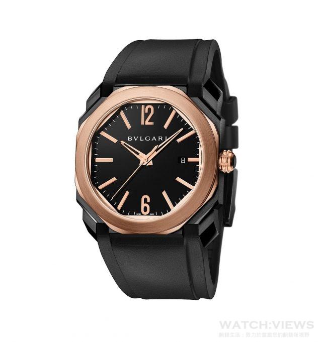 吳亦凡拍攝寶格麗腕錶系列廣告所配戴的BVLGARI Octo Ultranero Solotempo玫瑰金錶殼自動腕錶,精鋼錶殼經黑色類鑽碳鍍膜處理,18K 玫瑰金錶圈,藍寶石水晶底蓋鑲嵌18K玫瑰金螺絲,18K玫瑰金旋入式錶冠鑲飾陶瓷;錶徑41mm,100米。BVL Calibre 193自動上鍊機芯,顯示日期,飾以珍珠圓點打磨紋、日內瓦波紋、倒角處理與蝸形花紋,雙發條盒,振頻28,800 vph,50小時動力儲存,整合式橡膠錶帶,精鋼錶扣經黑色類鑽碳鍍膜處理,參考價格約新台幣338,800元。。