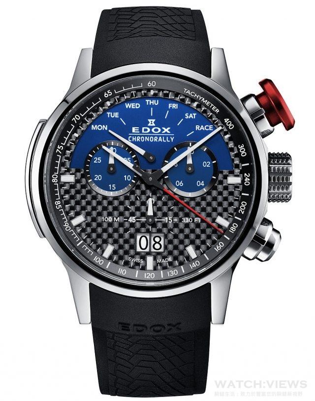 EDOX  F1索伯賽車限量錶 鈦合金錶殼,錶徑48毫米,紅色超大按把,時、分、秒、星期、日期、計時碼錶,藍色錶盤,測速儀,耐磨損藍寶石水晶玻璃,車胎紋橡膠帶,防水100米,全球限量555只,建議定價 NTD58,800。
