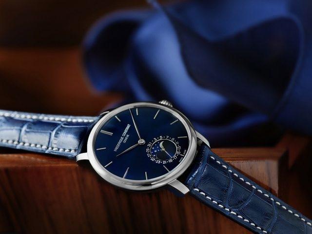 FC-705超薄月相男錶 型號FC-705N4S6,三層不鏽鋼錶殼,直徑42毫米,弧形海軍藍色面盤,時、分、月相、指針式日期顯示,可透視錶背蓋,防水 30M,FC-705 自製自動機芯,透過錶冠即可調整日期顯示盤以及月相功能,26 顆寶石, 42小時動力儲存,海軍藍色鱷魚皮錶帶搭配不鏽鋼錶扣,建議售價NTD111,000。