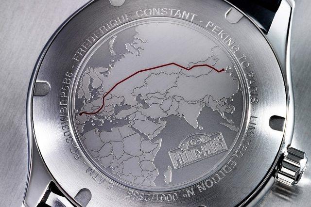 康斯登Healey Rally系列「北京到巴黎汽車挑戰賽」限量錶的錶底蓋刻有挑戰賽的徽標及行車路線。