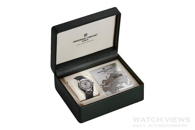 康斯登Healey Rally系列「北京到巴黎汽車挑戰賽」腕錶以別具一格的禮盒盛載,內含一塊刻有「2016北京到巴黎汽車挑戰賽」行車路線的飾板。