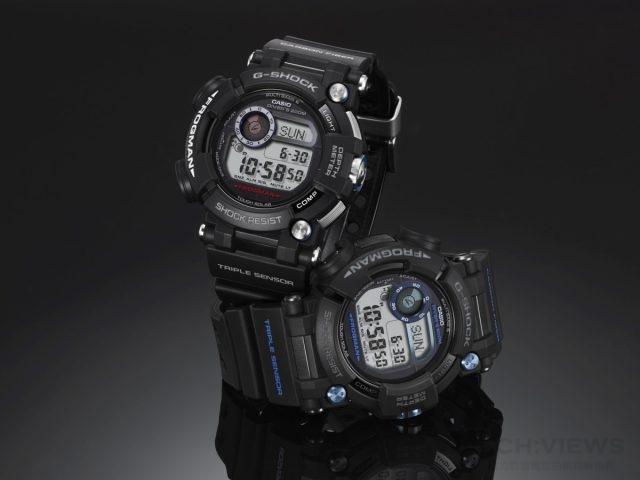 FROGMAN GWF-D1000僅需單一按鈕長按,即可進入潛水模式,可顯示目前水深、潛水經過時間與現在時間。